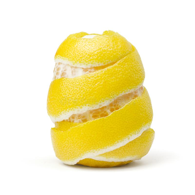 Citron, peau, entrain sur le fond blanc photo stock