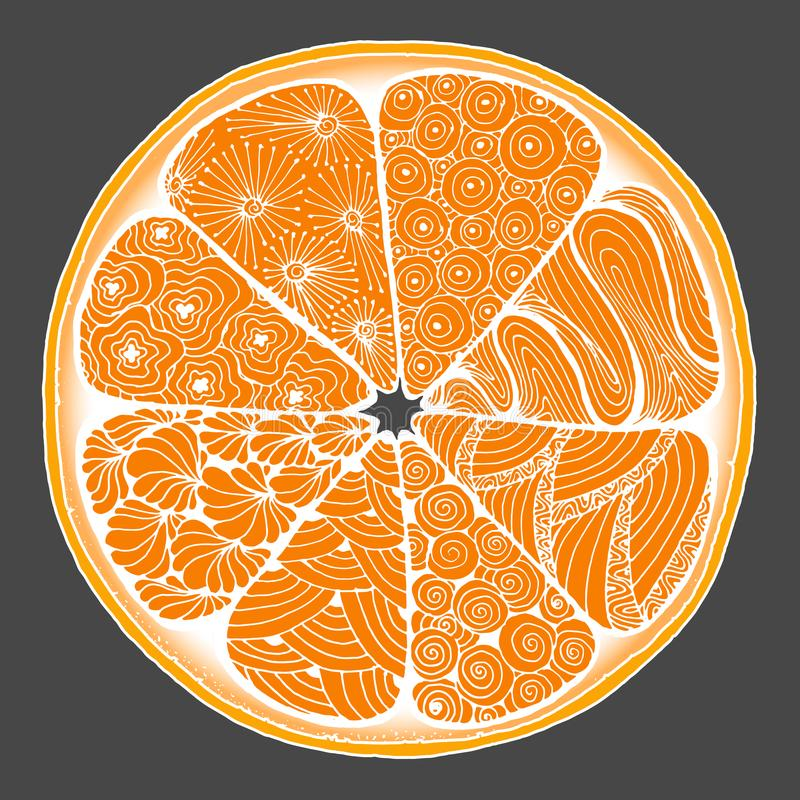 citron une orange dans le style de zentangle photos libres de droits