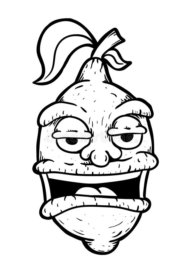 Citron wih face. Illustration, painted vector illustration