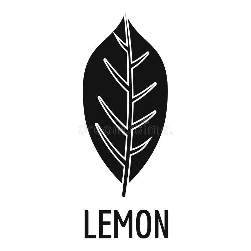 Citronbladsymbol, enkel svart stil vektor illustrationer