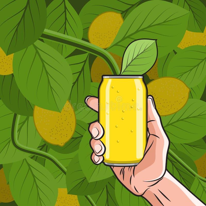 Citrondrink i hand stock illustrationer