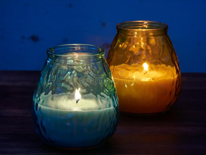 Citronella candles. Used as mosquito repellant stock image