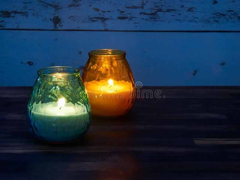 Citronella candles. Used as mosquito repellant royalty free stock photo