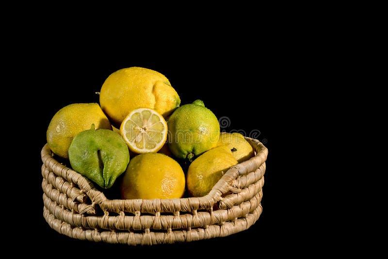 Citroner i en korg fotografering för bildbyråer