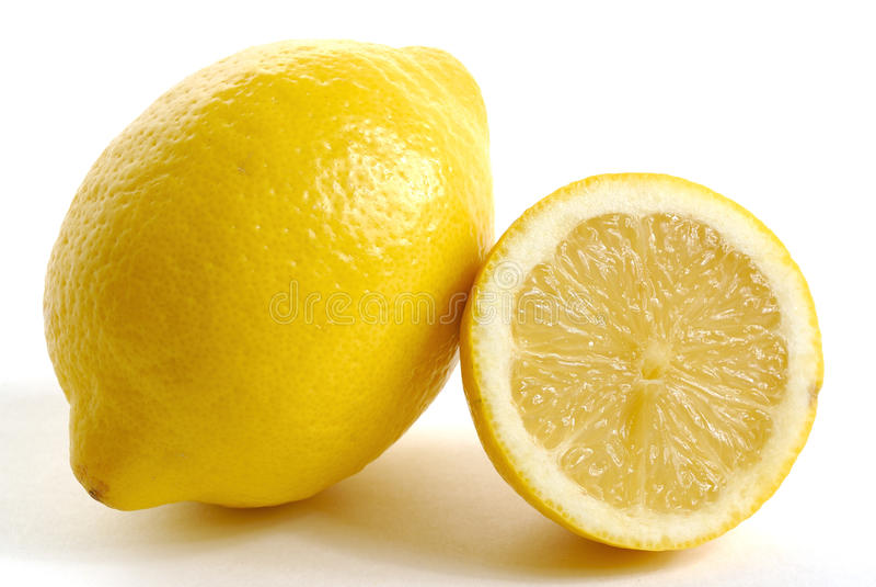 Citroner på den vita zonen royaltyfri fotografi