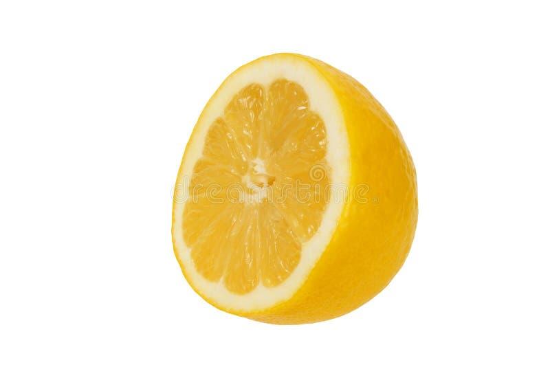 Citronhalva på vit royaltyfri foto