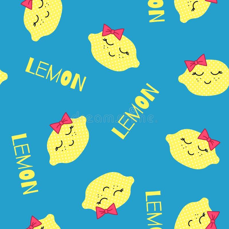 CitronKawaii modell Sömlös textur för vektor av lyckliga gula citroner på en blå bakgrund vektor illustrationer