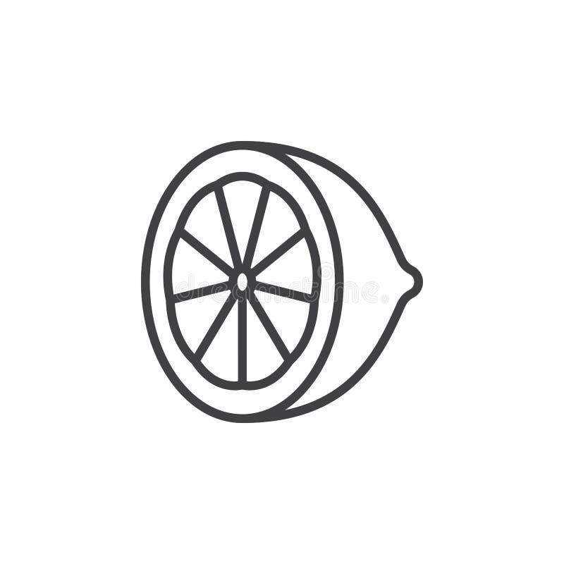 Citronlinje symbol, citrust översiktsvektortecken, linjär pictogram som isoleras på vit vektor illustrationer