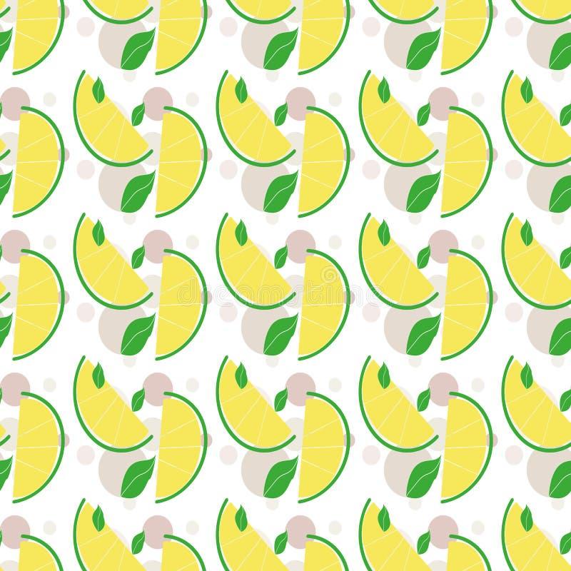 Citronmodellbakgrund, vektorillustration Saftiga ljusa skivade citroner planlägger mallen skivad half ananas f?r bakgrundssnittfr vektor illustrationer
