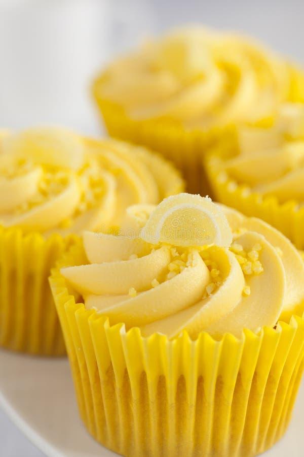 Citronmuffin med smörkrämvirvel och frank fruktgarnering royaltyfri fotografi