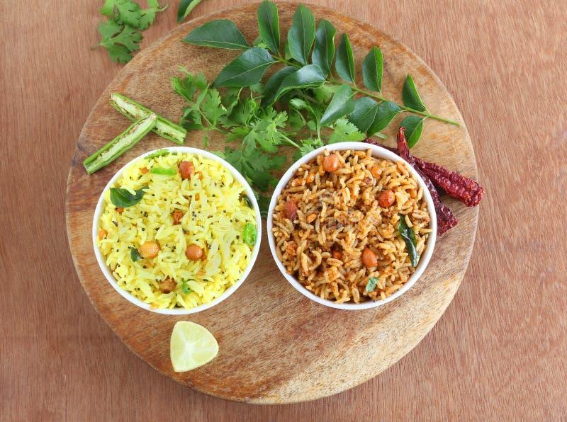 Citronris och Puliyogare traditionell södra indisk frukost arkivbild