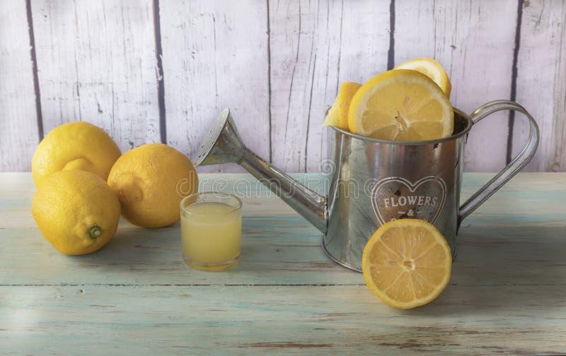 Citrons et jus de citron entiers et coupés en tranches image stock