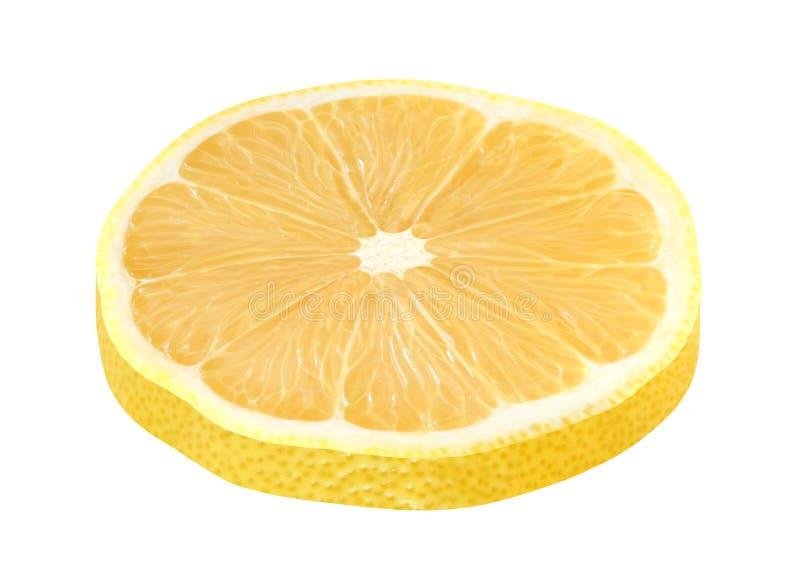 Citronskivan klippte rund guling som isolerades på vit bakgrund med den snabba banan royaltyfri foto
