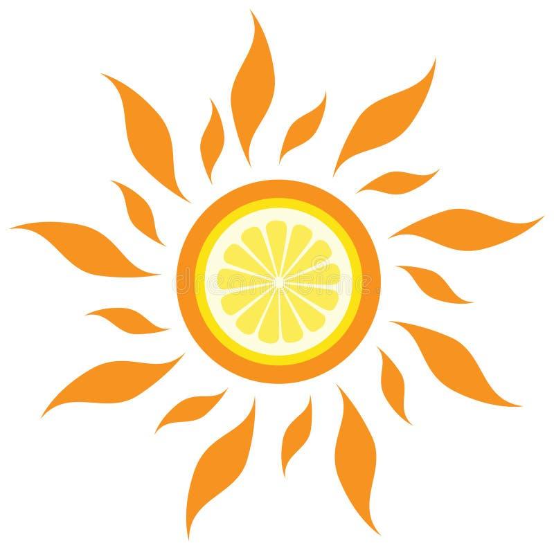 citronsunvektor royaltyfri illustrationer