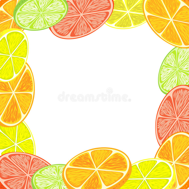 Citrus background. Decorative frame of oranges, lemons, grapefruits and limes. Citrus background. Place for text. Easy to edit. There is in addition a vector royalty free illustration