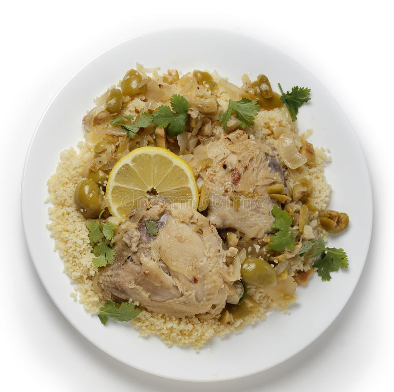 Citrus chicken with olives and couscous from above stock photos