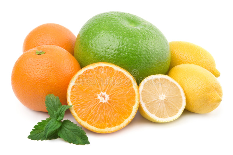 Citrus collection. Isolated. Citrus collection. Grapefruit or pamela, orange, lemon royalty free stock photos