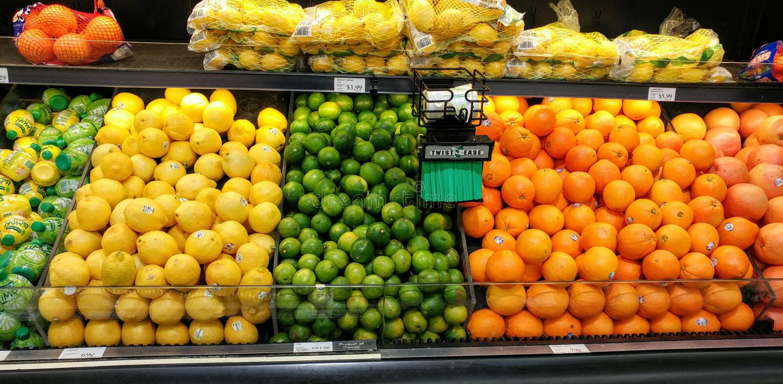 Citrus Display, Produce, at Grocery Store royalty free stock photo