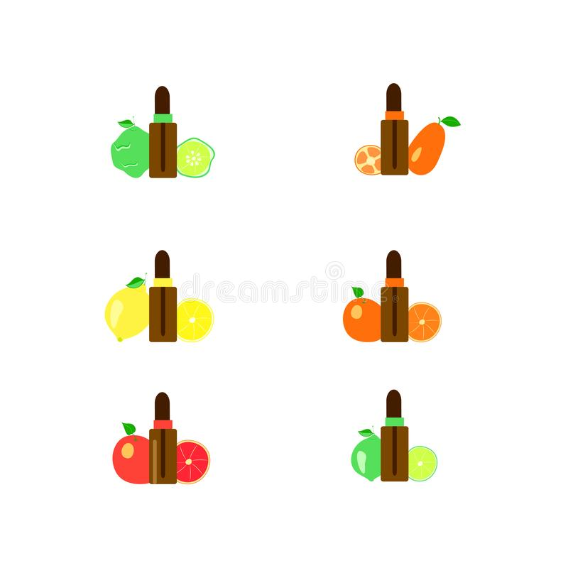 Citrus essential oil in a bottle for aromatherapy and massage,  set of lemon and orange fruits and lime for spa treatments stock illustration