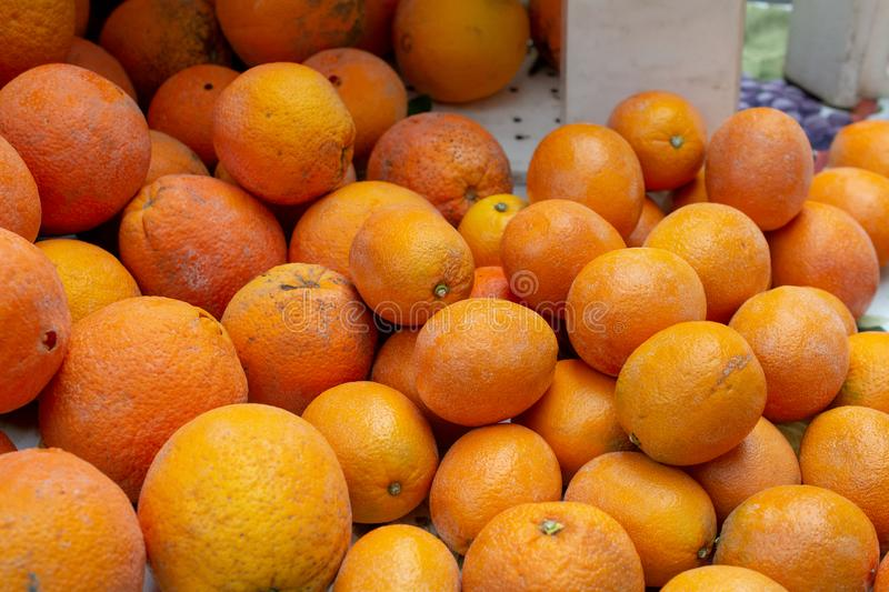 Citrus in the farmers market. Oranges available at a farmers market for sale - farm-to-table concept stock photos
