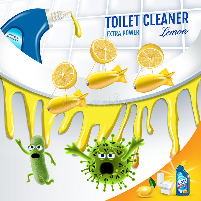 Citrus fragrance toilet cleaner ads. Cleaner bobs kill germs inside toilet bowl. Vector realistic illustration. Poster. Citrus fragrance toilet cleaner ads royalty free illustration