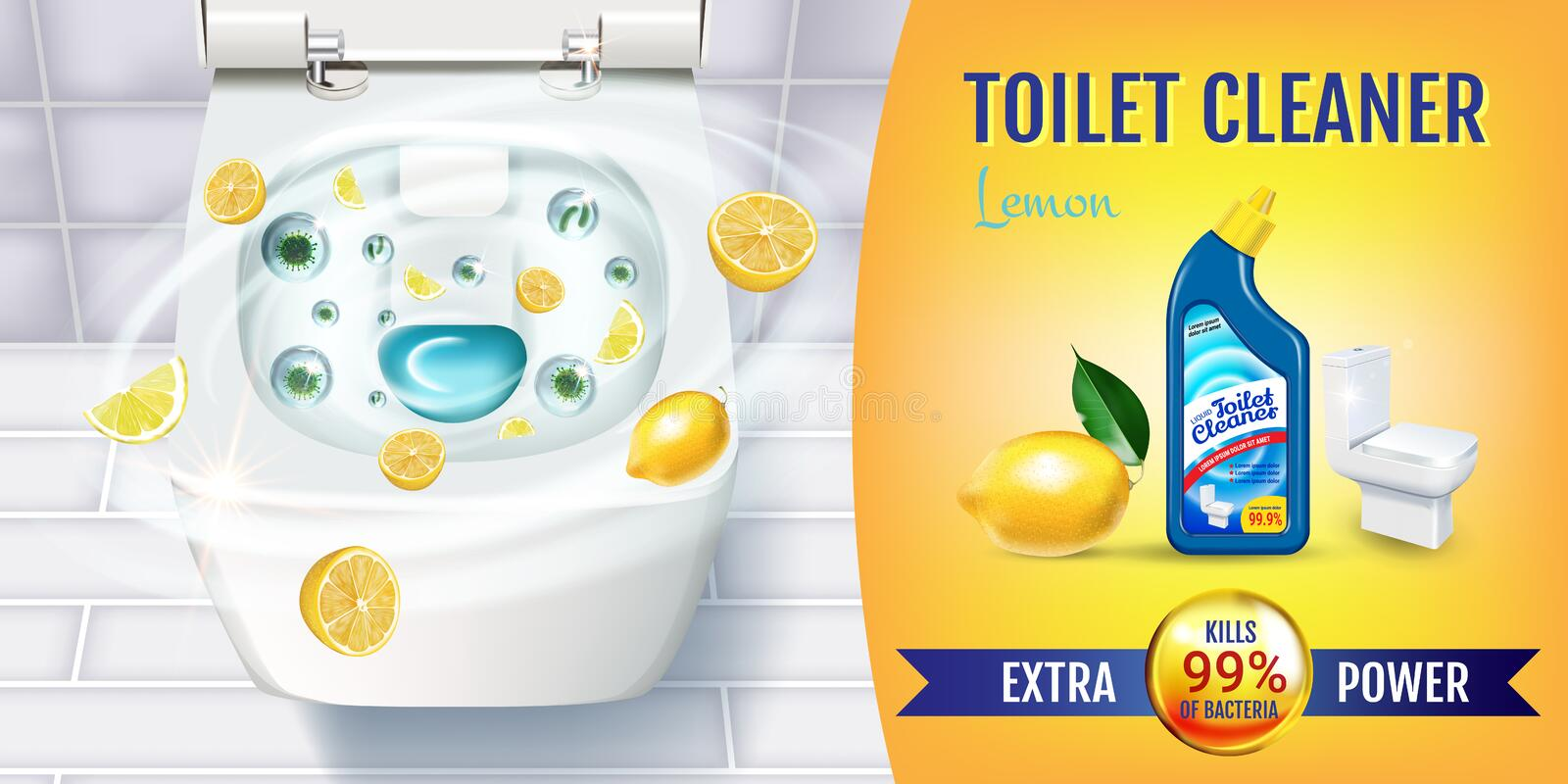 Citrus fragrance toilet cleaner gel ads. Vector realistic Illustration with top view of toilet bowl and disinfectant container. Horizontal banner vector illustration