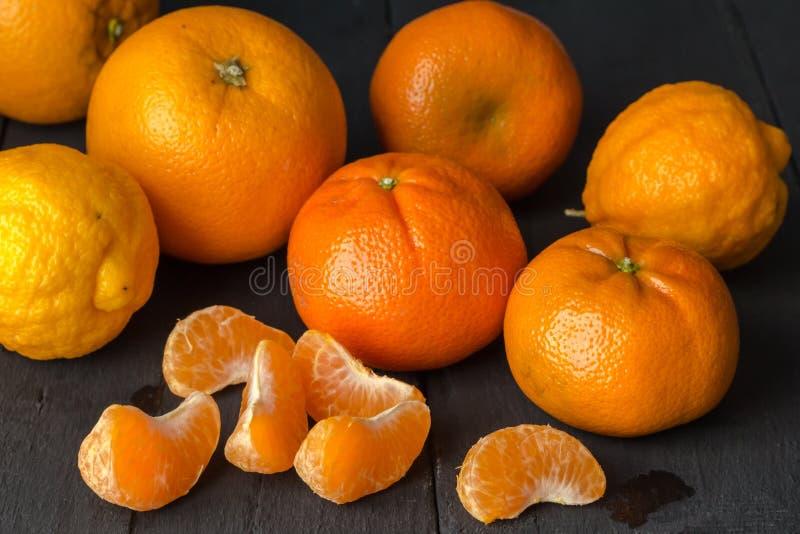 Citrus fruit background with orange, tangerine and lemon fruit o stock photography