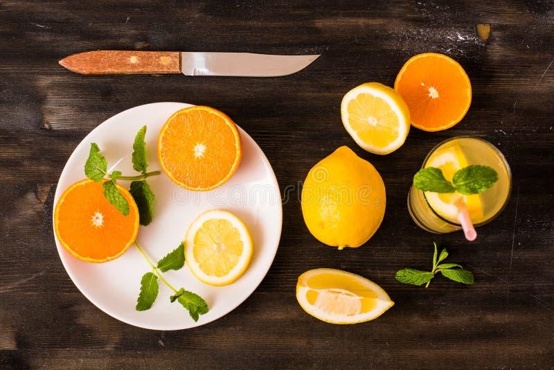 Citrus fruit. Collection, fresh slices stock photos