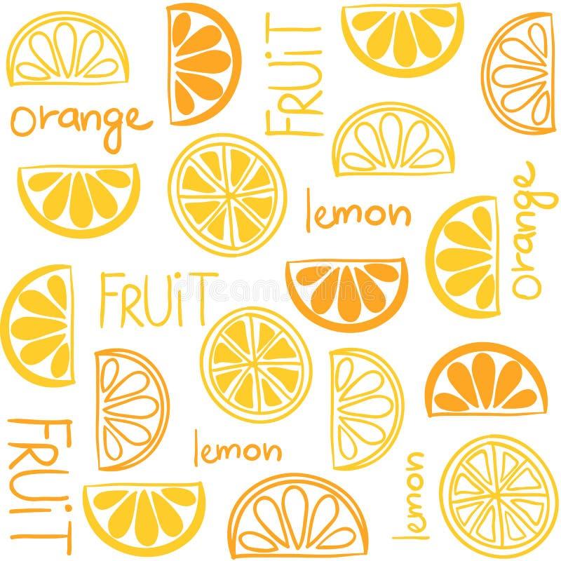 Citrus fruit seamless pattern stock illustration