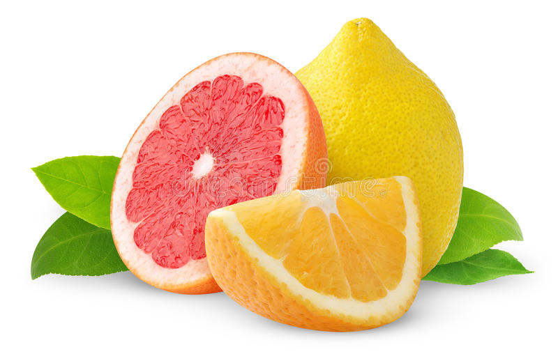Isolated citrus fruits royalty free stock images
