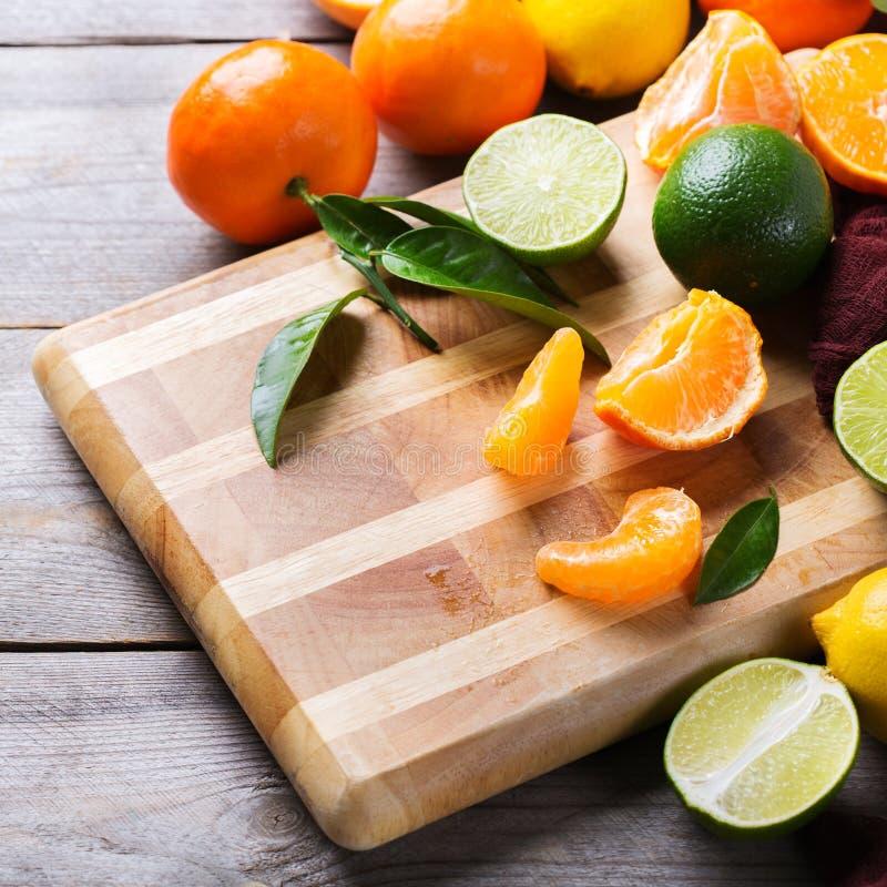 Citrus fruits background. Orange, grapefruit, tangerine, lime, lemon vitamin royalty free stock photography