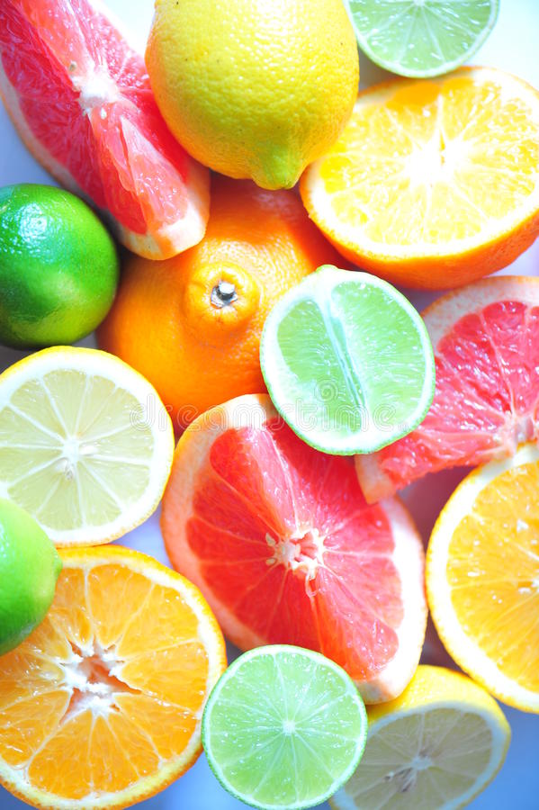 Citrus fruits - C vitamin stock image