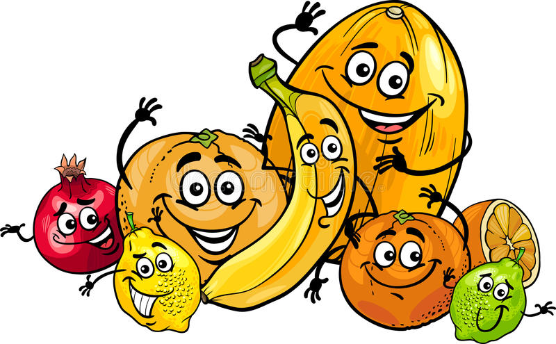 Citrus fruits group cartoon illustration. Cartoon Illustration of Funny Citrus and Tropical Fruits Food Characters Group vector illustration