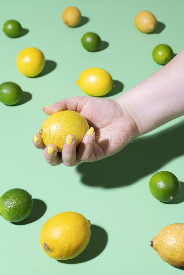 Citrus fruits and hand holding a lemon. Summer fresh fruits. Woman holding a lemon fruit over a background of limes and lemons on green mint paper. Hand with stock image