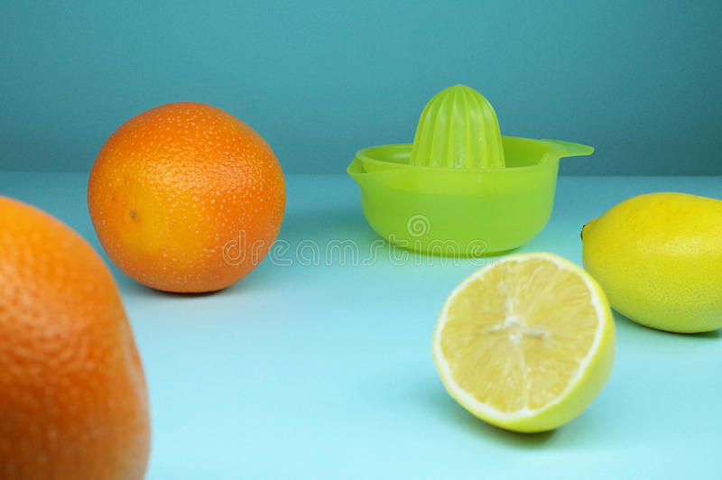Citrus fruits and juicer stock photography