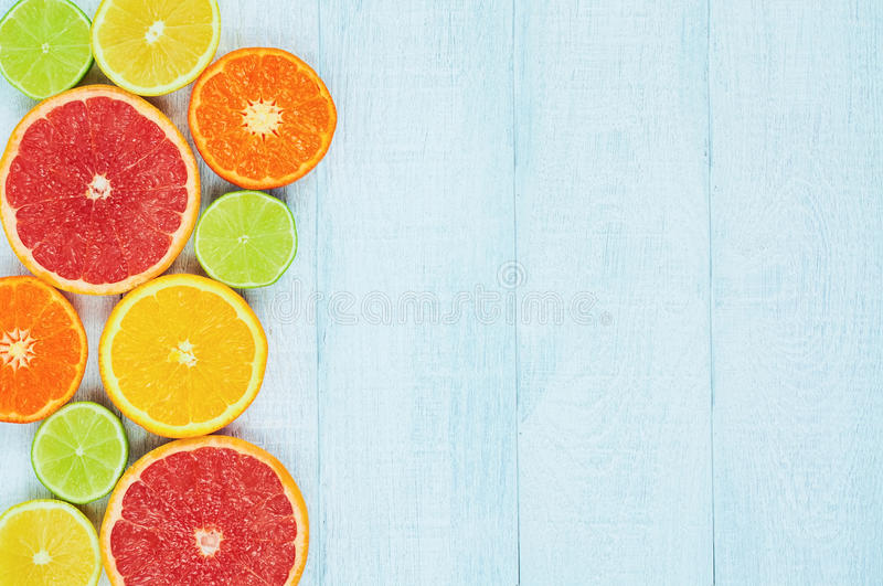 Citrus fruits. Oranges, limes, grapefruits, tangerines and lemons royalty free stock photography