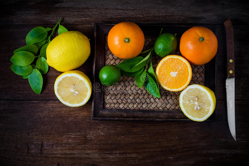 Citrus fruits. Oranges, limes and lemons. Top view stock photography