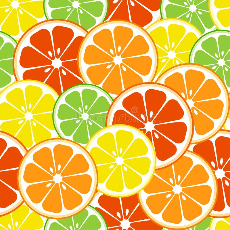 Citrus fruits seamless pattern. Vector illustration. Citrus fruits seamless pattern. Slices of lemon, orange, grapefruit, lime Vector illustration royalty free illustration