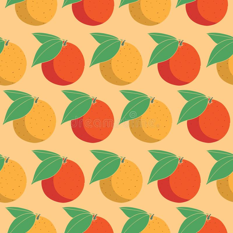 Citrus fruits seamless vector pattern on orange background for textile, wrapping paper and wallpaper. Seamless pattern with citrus fruits stock illustration