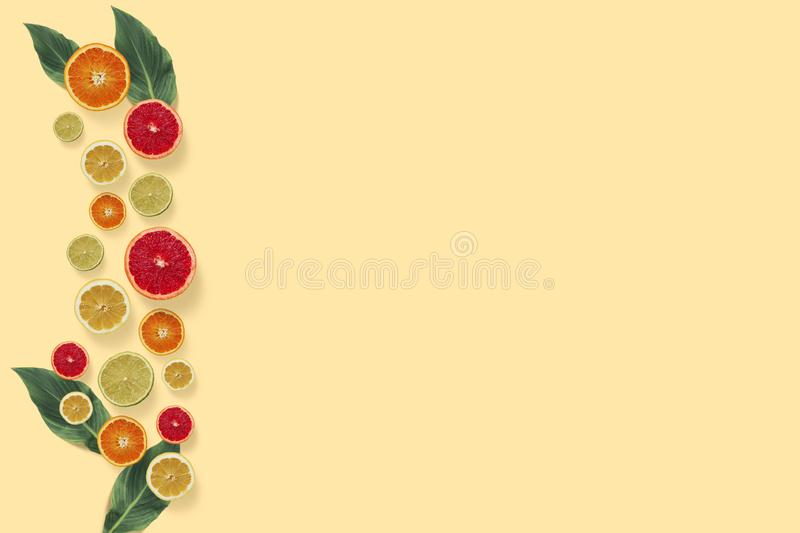 Citrus fruits top view on the pastel yellow background royalty free illustration