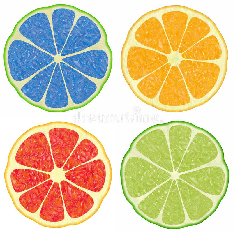 Citrus. The image of illustrations of different color versions of citron fruit stock illustration