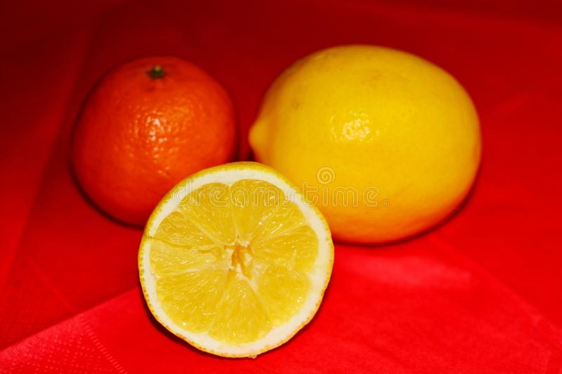 Citrus. Image of citrus on a red background royalty free stock images
