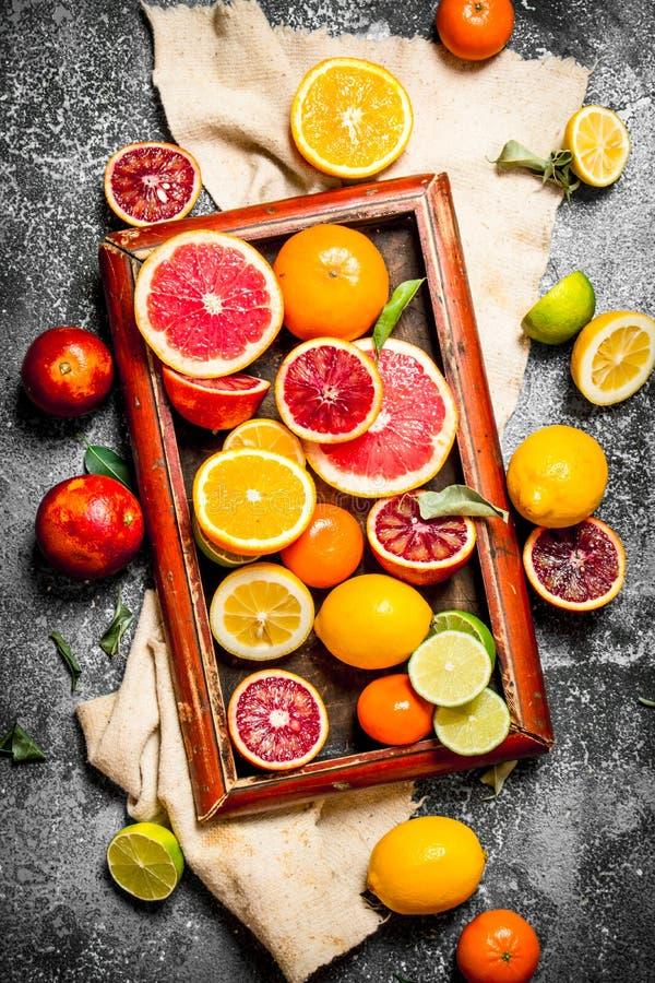 citrus klar text för bakgrund Citrusfrukter i det gamla magasinet arkivfoton