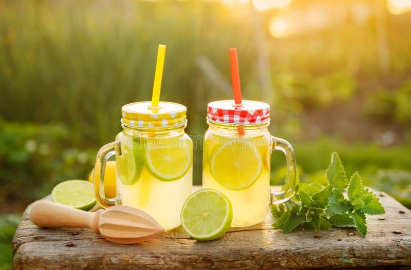 Citrus lemonad i trädgårds- inställning arkivfoto