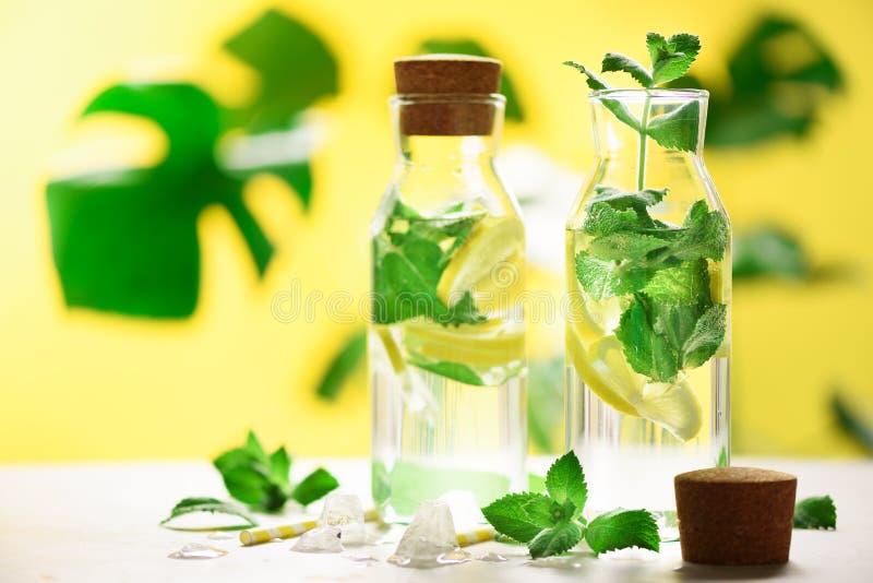Citrus lemonad - mintkaramell, citron och tropiska monsterasidor på gul bakgrund Detoxdrink Ingett vatten för sommar frukt arkivfoton