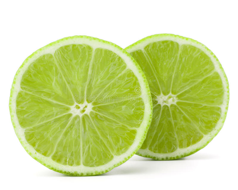 Citrus lime fruit half isolated on white background cutout stock image