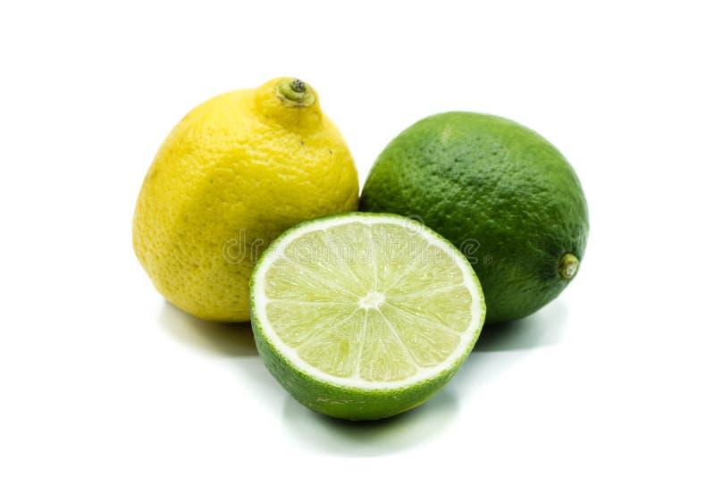Citrus Lime Lemon Orange isolated on white background stock photography
