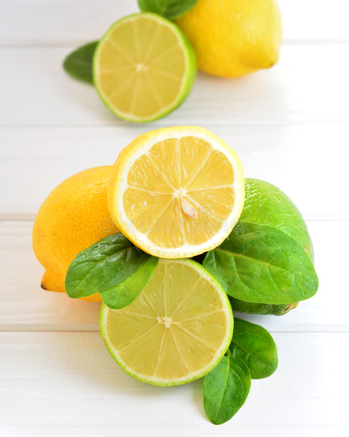 Citrus lime and lemon on a white table stock photography