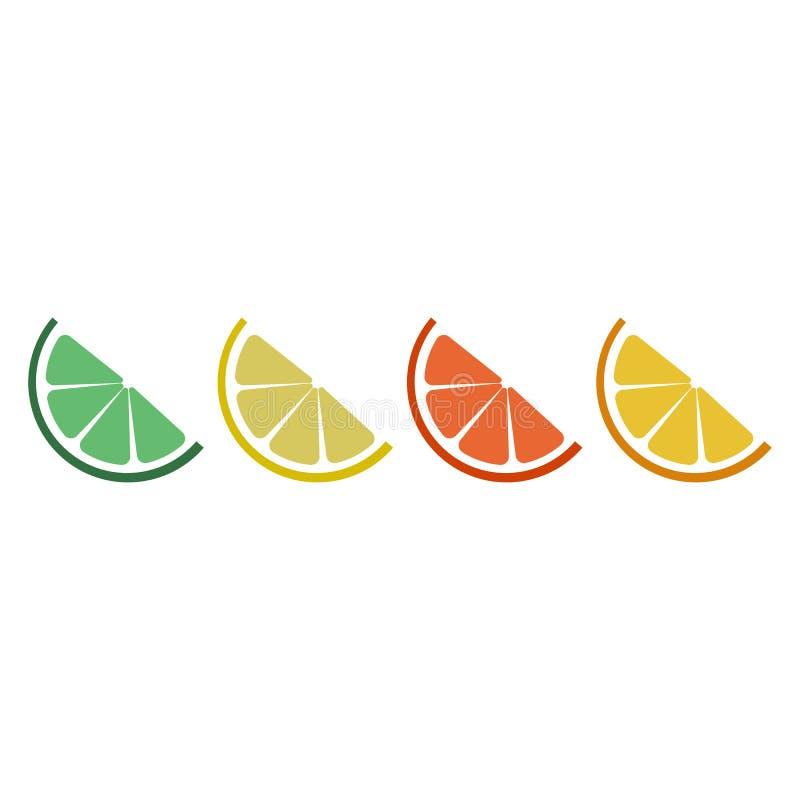 Citrus logo set. Isolated citruses slices on white background. EPS 10. Vector illustration vector illustration