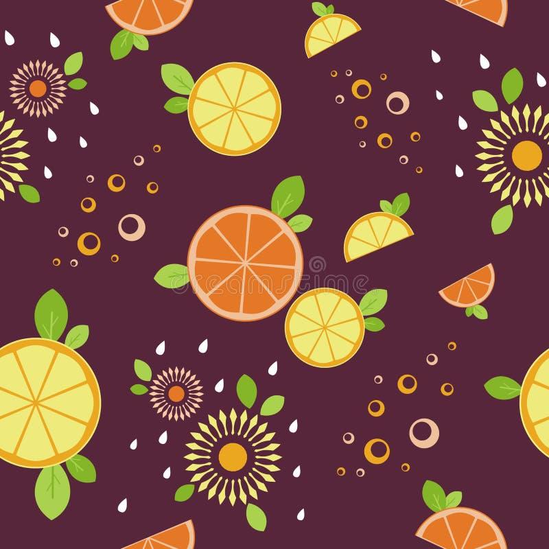 Citrus mix. Seamless pattern. Burgundy background stock photo
